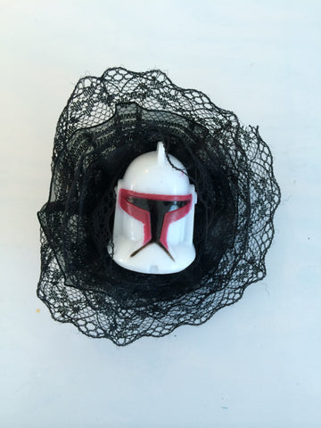 Star Wars Inspired Storm Trooper Black Lace Flower Fascinator - Carrie's Closet