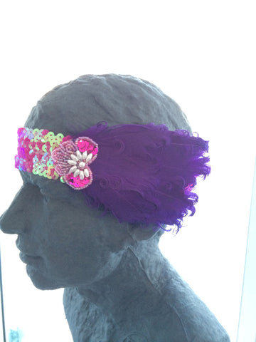 Purple Feather Headband with Pink sequin band Fascinator Flapper Gatsby Burlesque - Carrie's Closet  - 1