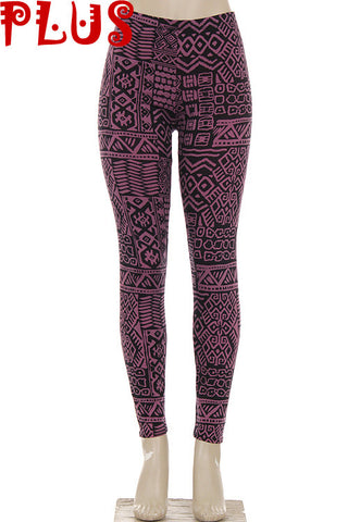 purple aztec plus size leggings - Carrie's Closet  - 1