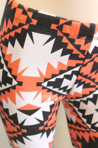 KIDS Orange Aztec Girls Leggings Children Size 3 - 11 - Carrie's Closet  - 1