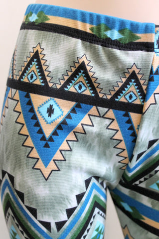 KIDS Green and Blue Aztec Girls Leggings Children - Carrie's Closet