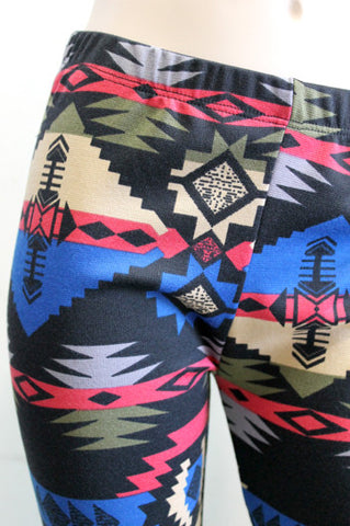 KIDS Black Royal Blue Taupe Gray Pink Aztec Girls Leggings Children Size 3 LEFT - Carrie's Closet  - 1