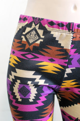 KIDS Black Pink Purple and Mustard Aztec Girls Leggings Children Size 3 and 9 LEFT - Carrie's Closet  - 1