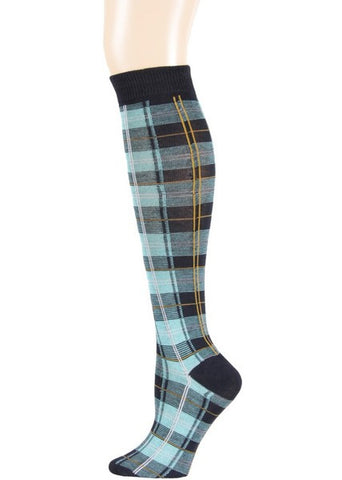 Blue Plaid Knee Socks - Carrie's Closet