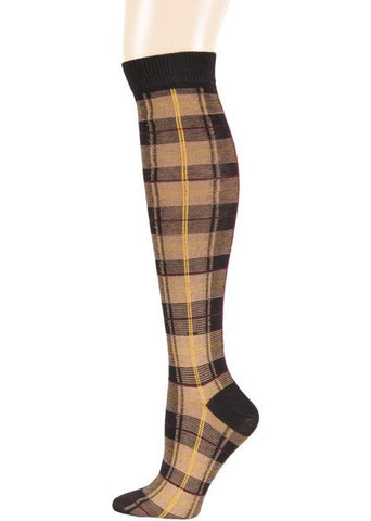 Brown Plaid Knee Socks - Carrie's Closet