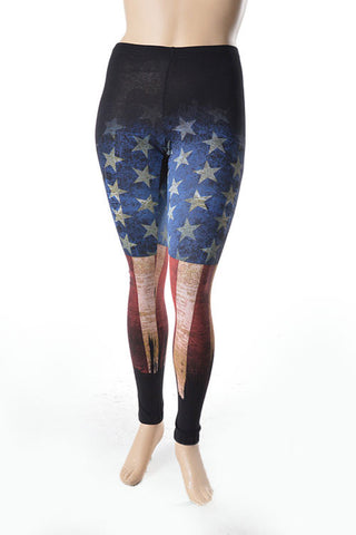 Womens Burnout American USA Flag plus size leggings - Carrie's Closet
