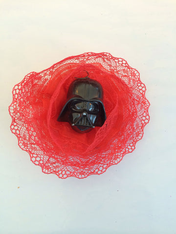 Star Wars Inspired Darth Vader Red Lace Flower Fascinator - Carrie's Closet