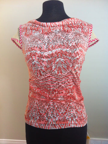 Aztec Burnout Coral Top with Back Zipper detail Anac by Kimi - Carrie's Closet