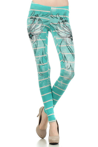 Cross Adorned Leggings in Turquoise - SMALL - Carrie's Closet