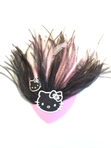 Pink and Black Feather Hair Fascinator with Black Hello Kitty Cat Patch - Carrie's Closet