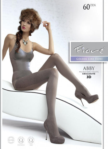 Abby Patterned Tights 60 den Fiore Hosiery - Carrie's Closet