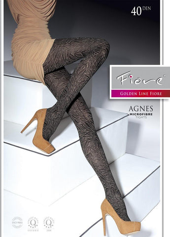 Agnes Patterned Tights 40 den Fiore Hosiery - Carrie's Closet