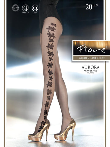 Aurora Patterned Tights 20 den Fiore Hosiery - Carrie's Closet