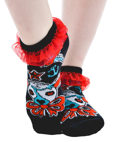 Ahoy Ruffled Ankle Socks with nautical swallows and sailor puppy - Carrie's Closet