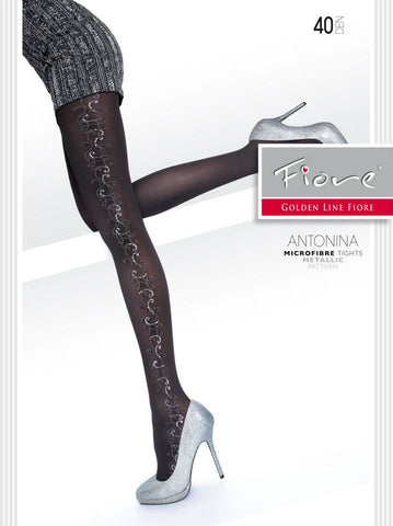 ANTONINA Patterned Tights 40 den Fiore Hosiery - Carrie's Closet