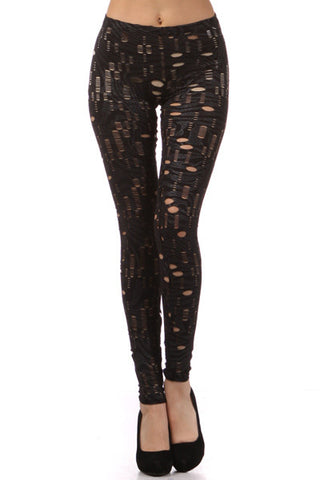 Black Cutout with Silver Detail Leggings - Carrie's Closet  - 1
