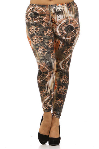 tie dye plus size leggings in orange rust color - Carrie's Closet
