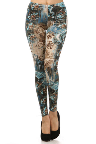 Tie Dyed Teal Leggings - Carrie's Closet  - 1