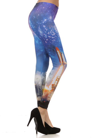 Leggings Rocket Spaceship Galaxy Cosmic - Carrie's Closet