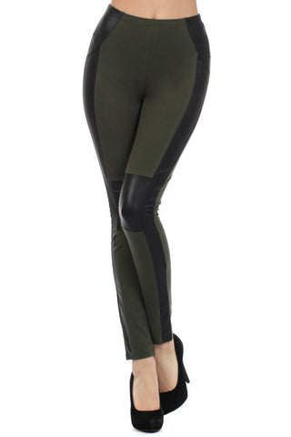 Hunter Green Cotton Blend Leggings with Pleather Sides - Carrie's Closet