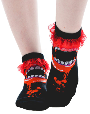 Bite Me Fangs Ruffled Ankle Socks - Carrie's Closet