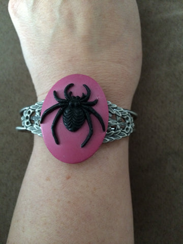 Black Spider on Pink Cuff Bracelet - Carrie's Closet  - 1