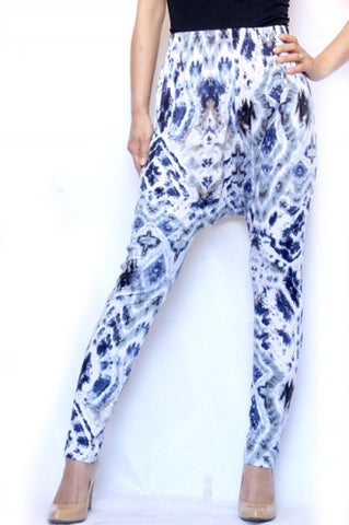 Blue Gray Tie Dye Harem Pants - Carrie's Closet