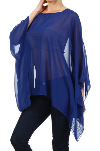 Blue Sheer Kimono Poncho - One Size - Carrie's Closet