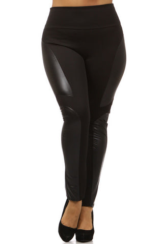 high waist pleather plus size leggings - Carrie's Closet