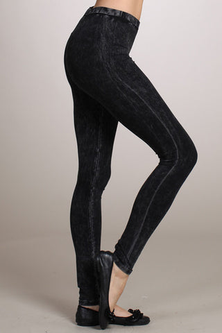Black Acid Wash Leggings Hand Dyed by Chatoyant - Carrie's Closet  - 1