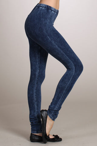 Blue Acid Wash Leggings Hand Dyed by Chatoyant - Carrie's Closet  - 1