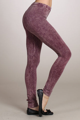 Eggplant Purple Acid Wash Leggings Hand Dyed - Carrie's Closet  - 1