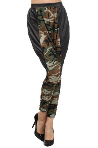 Camouflage Pleather Harem Baggy Pants - Carrie's Closet