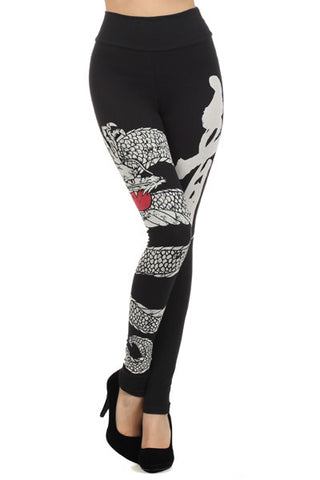High Waist Dragon Leggings - Carrie's Closet
