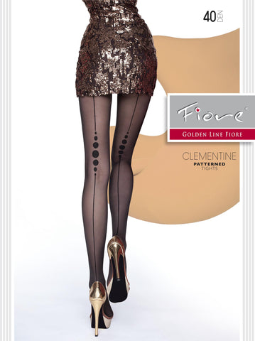 CLEMENTINE Patterned Tights 40 Den Fiore Hosiery - Carrie's Closet