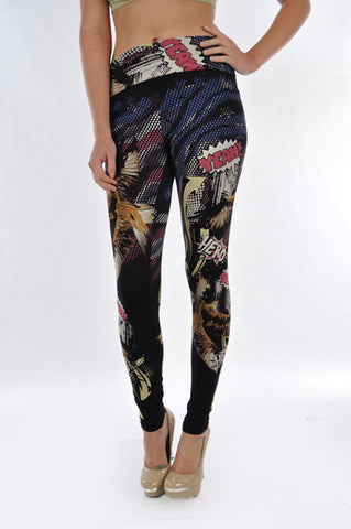 High Waist Comic Leggings - Carrie's Closet