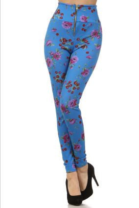 Periwinkle Blue with Red Cherries High Waist Pin Up Girl Leggings with Zipper - Carrie's Closet