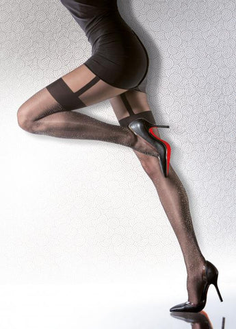 DARISHA Black Metallic Patterned Tights 40 den Fiore Hosiery - Carrie's Closet