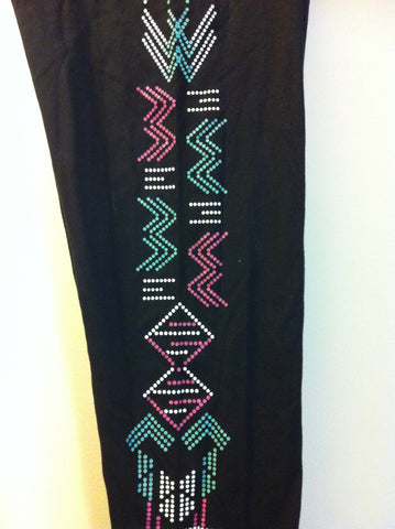 Black with Patterned Dots Aztec Plus Size Leggings 3X - Carrie's Closet