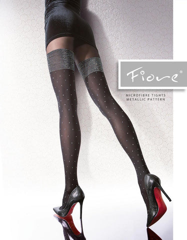 Edessa Patterned Microfibre Metallic Tights 40 den Fiore Hosiery - Carrie's Closet