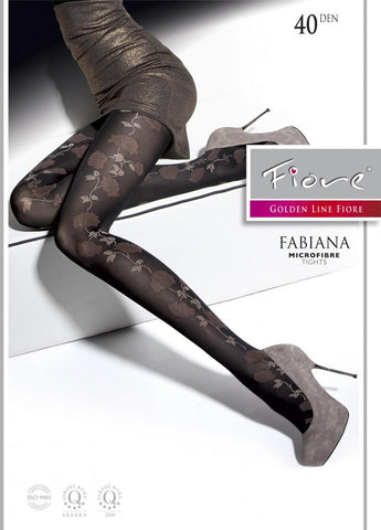 FABIANA Patterned Tights 40 den Fiore Hosiery - Carrie's Closet