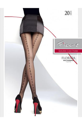 Florida Patterned Tights 20 Den Fiore Hosiery - Carrie's Closet