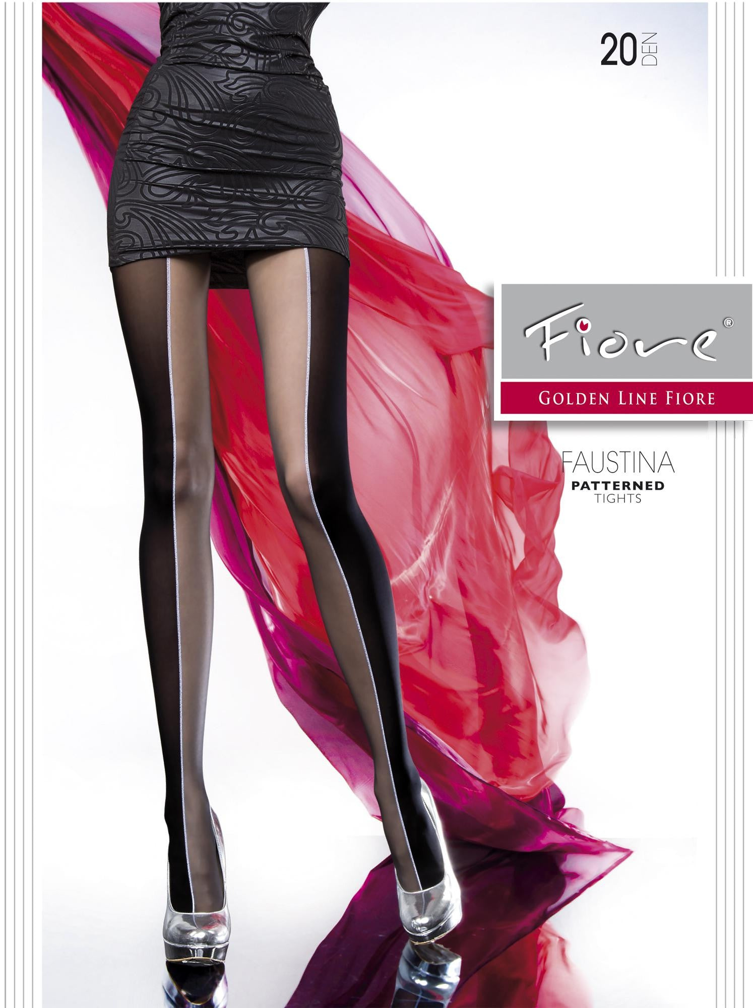 0e485c7ac3717 FAUSTINA Patterned Tights 20 den Fiore Hosiery Golden Line Color ...