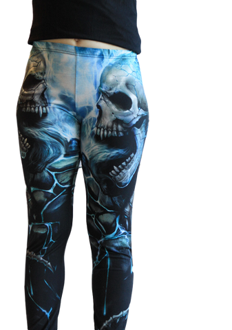 Flaming Spine Skull Leggings - Carrie's Closet