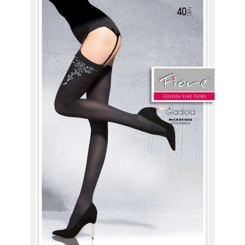 Gladiola Patterned Tights 40 den Fiore Stockings - Carrie's Closet