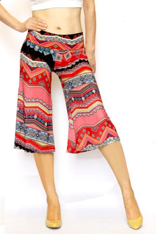 Marsala Red Ethnic Culottes - Carrie's Closet  - 1