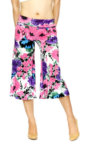 Pink and Purple Floral Culottes - Carrie's Closet