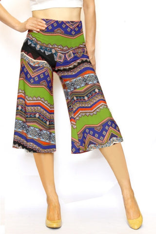 Green Ethnic Culottes - Carrie's Closet