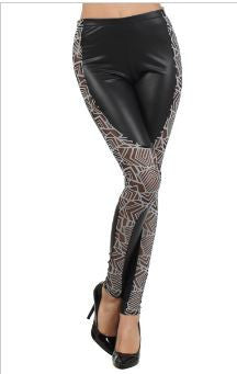 Pleather Geometric Mesh Leggings - Carrie's Closet