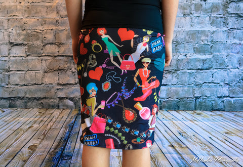 Girly Girl Pop Culture Stretchy Bodycon Skirt - Carrie's Closet